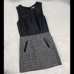 Banana Republic faux leather/tweed dress